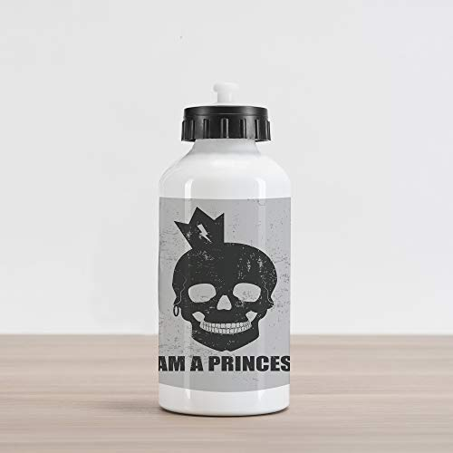 Ambesonne I am a Princess Aluminum Water Bottle, Skull with a Crown Skeleton Halloween Theme Grunge Look, Aluminum Insulated Spill-Proof Travel Sports Water Bottle, Charcoal Grey and Pale Grey ()