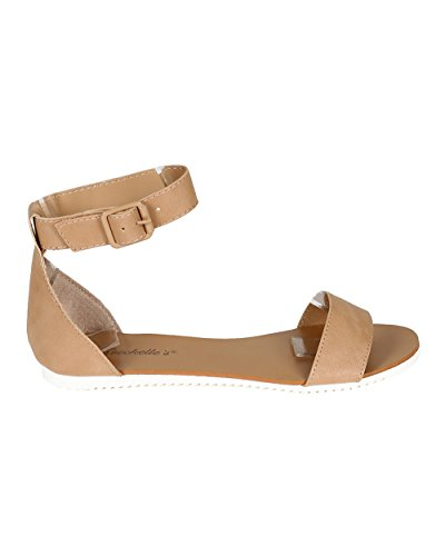 Breckelles CA52 Women Leatherette Open Toe Ankle Strap Flat Sandal - Natural (Size: 7.0)