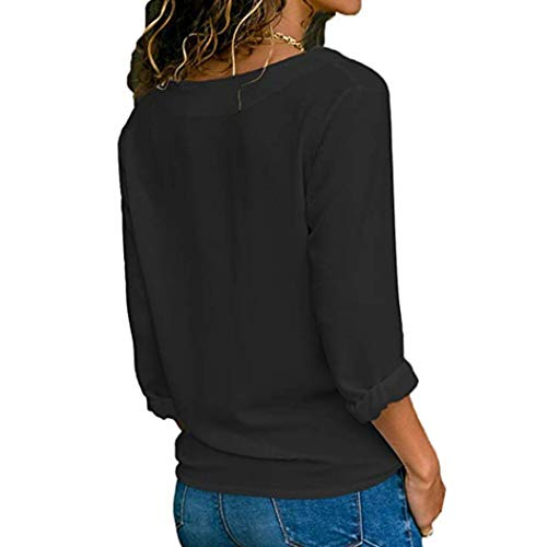 Manches Jupes Roll Solide Femmes Longues Casual S Printemps Tops col Et HENPI lgant Blouse XL Noir Bouton Blouse V Up Shirt Blouse Chemises Tops T w7IPadx