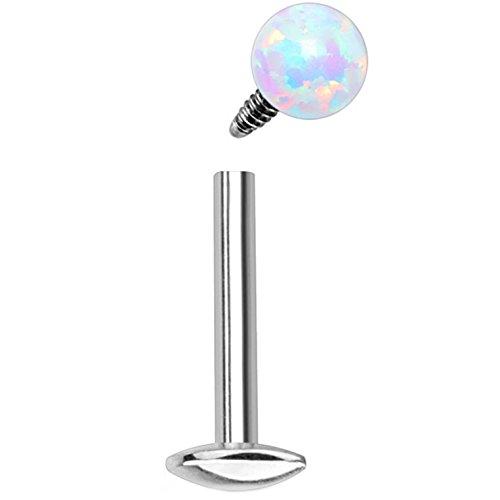 16 Gauge White Synthetic Opal Ball Steel Labret Monroe Piercing Stud Internally Threaded (16G 5/16