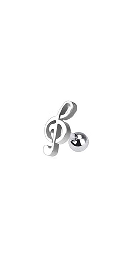 316L Surgical Steel Helix Ear Cartilage Piercing Jewelry Steel Treble Clef Music Note 18G Nose Ring Bling NSD1257-Steel