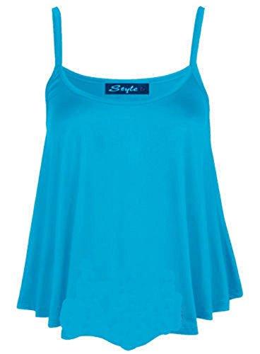 Nuevo Mujer Liso Swing Cami chaleco cadena neón Top Ladies cadena de Swing Top Plus tamaños UK tamaño 8–�?6 turquesa