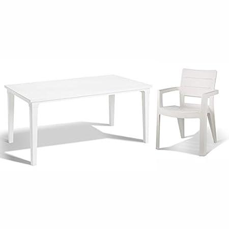Allibert table futura ibiza blanc 4 x chaise de jardin avec ...