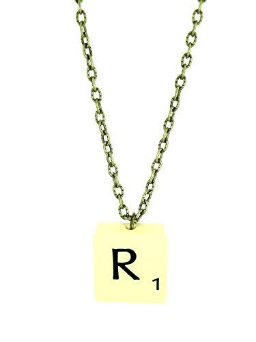 Fallen Saint Letter R Vintage Scrabble Tile Necklace Gift Boxed (Necklace Letter Scrabble)