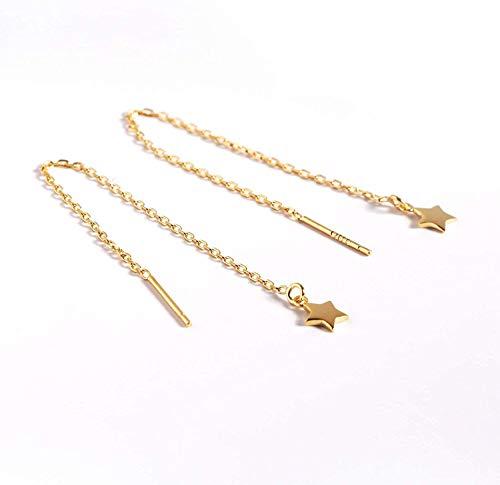 Sterling Silver Threader Tassel Earrings Star Drop Dangle Long Charm Earrings A Pair (gold)