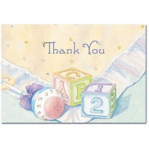 Baby Blocks Baby Shower Thank You Cards And Envelopes   Pack Of 24