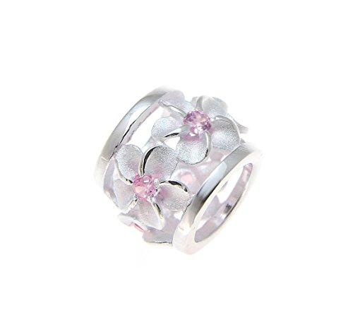 925 Sterling silver Hawaiian plumeria flower barrel slide pendant pink cz (Plumeria Slide Pendant)