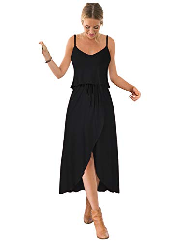 GlorySunshine Women Vintage V-Neck Split Side Maxi Long Evening Gown Dresses Upgrade (L, Black3)
