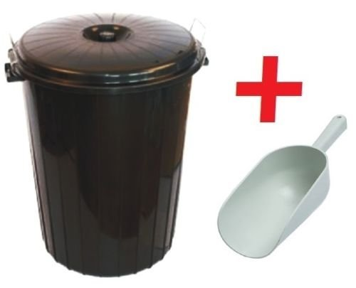 Small 50L Litre BLACK Plastic Bin Dustbin Flour / Animal / Horse / Feed / Seed / Storage + SCOOP by Su0026MC Gardenware  sc 1 st  Information.com & Best Deals on Plastic Horse Feed Storage Bins Products