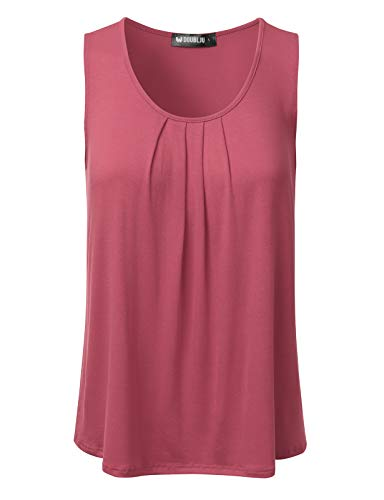 DRESSIS Women's Basic Soft Pleated Scoop Neck Sleeveless Loose Fit Tank Top,Awttk0423_dustypink,Small