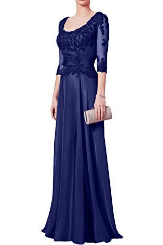 Royal Abendkleider Festlichkleider U Langarm Charmant Brautmutterkleider Ausschnitt Damen Lang Blau Ballkleider Traumhaft TvpwZ4xq