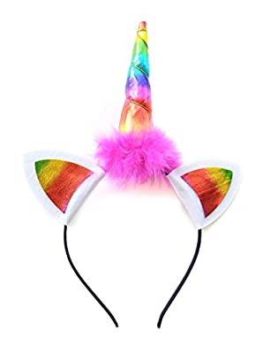Fascinators Headband hairpiece Unicorn Cat Ears bow bling hair Felt Retro Rainbow Adult Kid Girl Boy