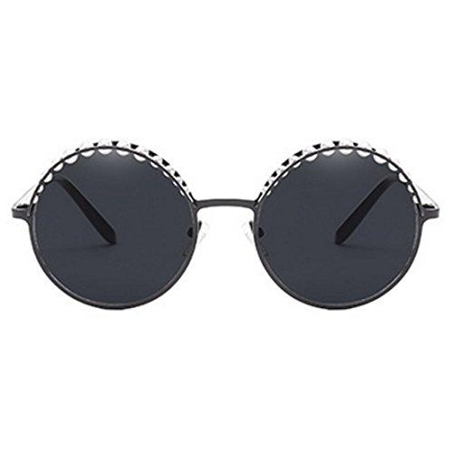 Ombres Perle Mode de Lunettes Gris Femmes Noir Ronde Rond UV400 Yefree Vintage MétalFrame Soleil 08Hgxg