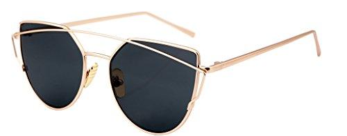 [FEISEDY Cat Eye Mirrored Flat Lenses Metal Frame Women Sunglasses UV400] (Clear Cat Eye Glasses)