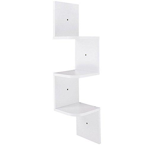 3 Tiers Zig Zag Floating Wall Mount Corner Shelf Wooden Display Shelves Storage Organizer with Gradienter White