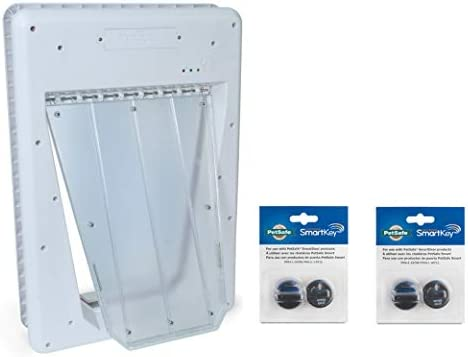 PetSafe Electronic SmartDoor, White, Large with Extra PetSafe Electronic SmartKey for PetSafe Electronic SmartDoor - Bundle