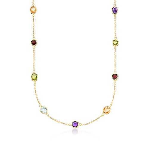 Ross-Simons 10.40 ct. t.w. Multi-Stone Station Necklace in 18kt Gold Over Sterling