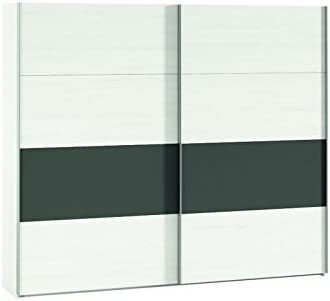 AMUEBLA Armario DE 2 Puertas CORREDERAS DE 225 CM. Color Polar/Combinado con ANTTRACITA: Amazon.es: Hogar