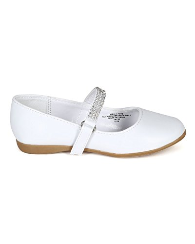 Leatherette Round Toe Rhinestone Mary Jane Ballerina Flat (Toddler/Little Girl) CA05 - White Leatherette (Size: Toddler 7) by Little Angel (Image #1)