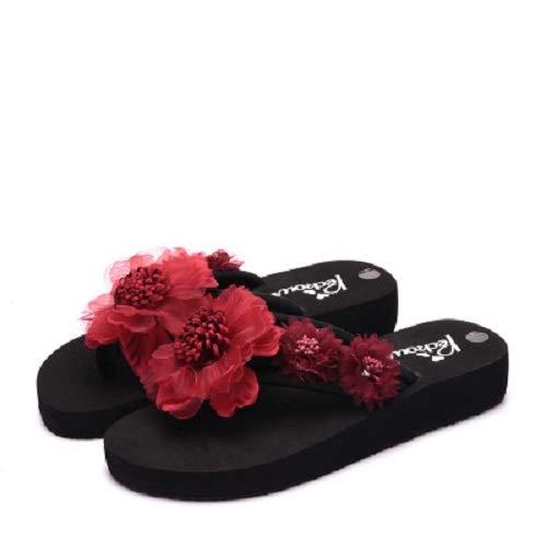 de tama Gris Zapatos Playa Punta Qiusa de Sandalias EU 42 la Clip tama Rojo o o Gran Color Plataforma Mujeres Flor f74qC45x