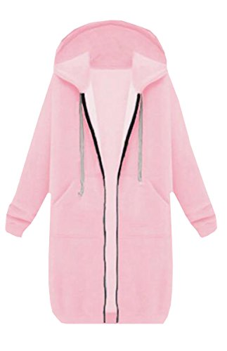 BLACKMYTH Femme Fermeture Longue Manteau Capuche Casual Pull-over Outwear Veste Avec Pocket Rose