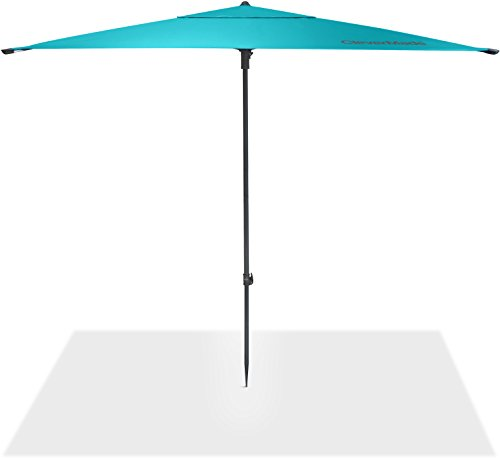 CleverMade Quadrabrella – Portable 5 Outdoor Beach Umbrella for Sun Shade Wind Protection – Includes Carry Bag, Pivot Hammer Ground Stakes, Teal