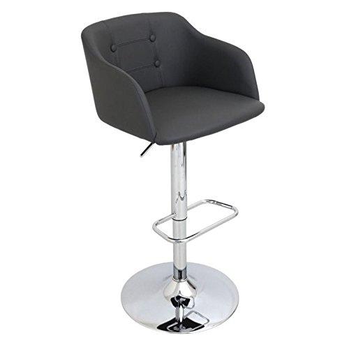 WOYBR BS-JY-CMP GY Plywood, Fabric, Chrome Campania Barstool - Bar Stool Gray Bucket Seat