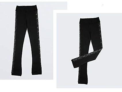 Heart&M Pantaloni da Pattinaggio su Ghiaccio Pantaloni Lunghi da Allenamento Elasticizzati con Cristalli per Bambina E Bambini Abbigliamento