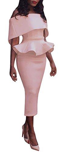 Ybenlow Womens Shoulder Peplum Bodycon