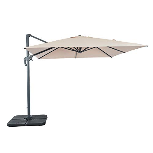suna outdoor Patio Umbrella Square Offset Cantilever Umbrella 10 x 10-Feet, Outdoor Patio Hanging Umbrella Cross Base, 8 Ribs, Beige