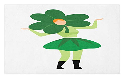 Ambesonne St. Patrick's Day Doormat, Lucky Lady with Clover Hat Costume Pattern, Decorative Polyester Floor Mat with Non-Skid Backing, 30 W X 18 L Inches, Green Pale Green Orange Pistachio Green