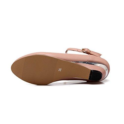 Espadrilles De Boucle Balamasa Womens Chaussures-pompes Uréthane Ronde-orteil Rose