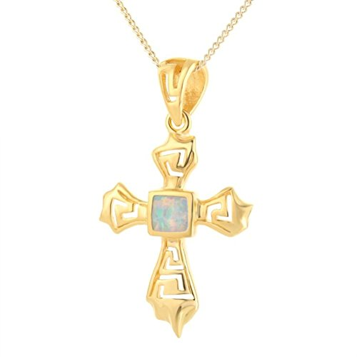 BELLETTOJEWELRY Amazing 14K Gold Plated Necklace Squared Cross Opal White Pendant for Women 55