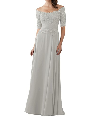 Evening Dresses Mother of The Bride Gowns with Sleeves Lace Long Chiffon Beaded Silver US14
