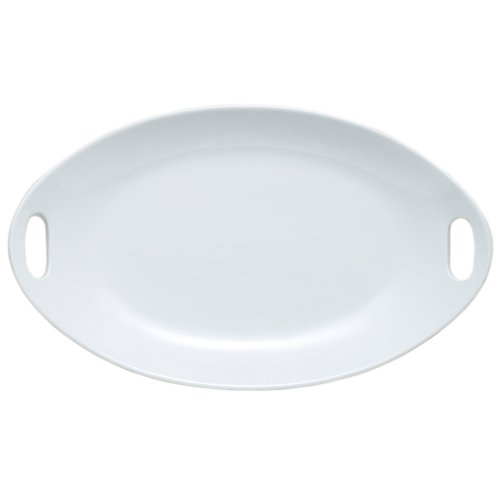 hite Porcelain Oval Platter with Handles ()