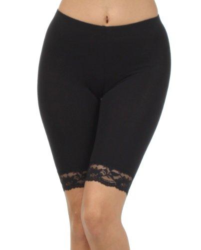 (Sakkas 460060 Cotton Lycra Blend Lace Trim Stretch Bike Shorts - Made in USA - Black - S )