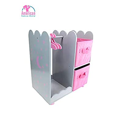 """American Fashion World 14 inch Doll Furniture  Doll Open Wardrobe with Star Detail and Hangers   Fits 14"""" American Girl Wellie Wisher Dolls: Toys & Games"""