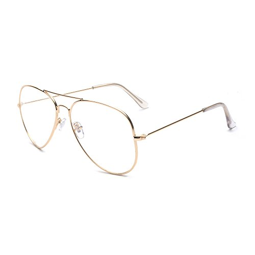 ALWAYSUV Classic Metal Aviator Clear Lens Glasses Gold Frame - Glasses Metal Aviator