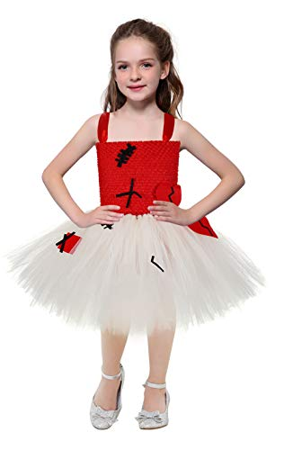 Halloween Voodoo Doll Tutu Dress Costumes for Girls Princess Birthday Party Role Play Costume for Kids Size 7-8 -