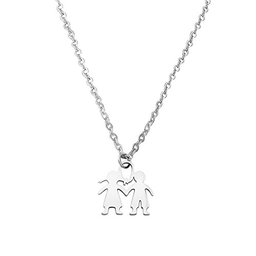 ENSIANTH Son Daughter Jewelry Two Kids Twins Pendant Necklace Family Jewelry Gift for Mom (Son Daughter Necklace)