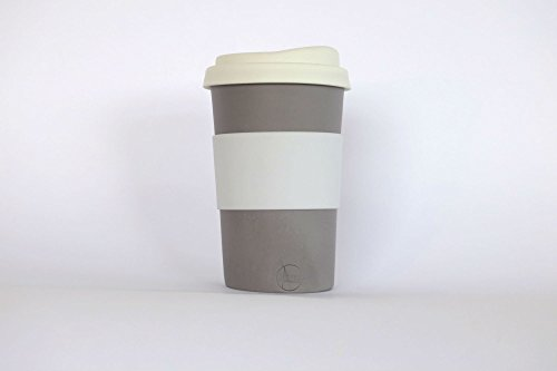 grey handmade to-go / travel cup for home, car or coffee shop use. Silicone lid and cuff, porcelain body. dishwasher proof. 12-14 oz.