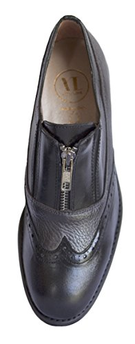 Leather Love Flat Smart Vitti Black Brogues Spanish Shoes Zip Two Women's Tone with Real xIdd0q