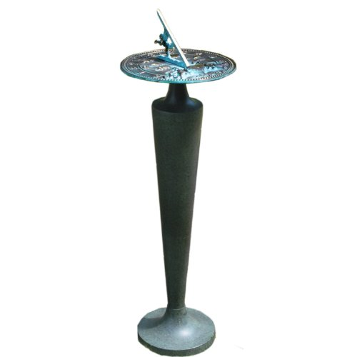 Rome B29 Aluminum Taper Sundial Pedestal, Cast Aluminum with Moss Green Patina Finish, 28-Inch Height
