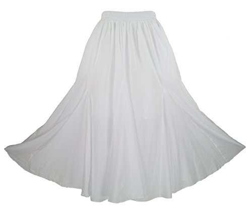 Beautybatik White Cotton Boho Gypsy Long Maxi Godet Flare Skirt 1X