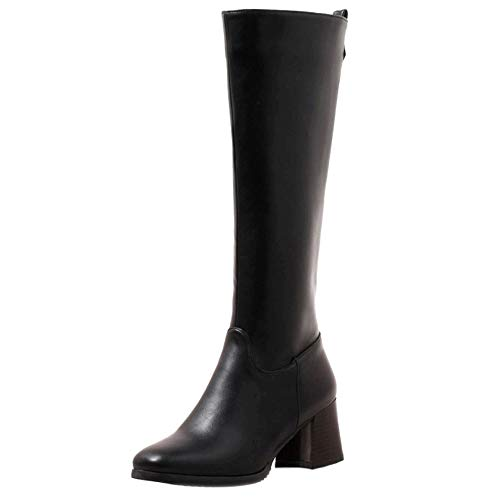 Genou Taoffen Hautes Noir Femmes Mode Boots Bottes Équitation SwIxAZq