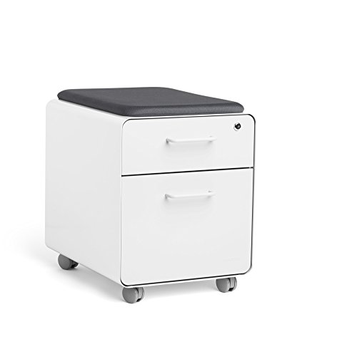 Superieur Poppin White Mini Stow File Cabinet With Casters And Pad, White By Poppin