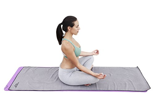 "Soft Microfiber Non Slip Yoga Mat Towel (24"" x 72"") + Free Mesh Carrying Bag! Great for Hot Yoga, Bikram Yoga, Ashtanga Yoga, pilates and more. +1 tree planted with every purchase FiveFourTen"