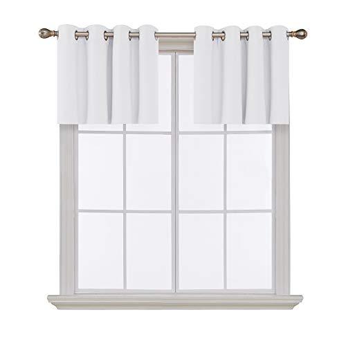 (Deconovo Platinum White Valances for Window Kitchen Valance Grommet Tier Curtains for Living Room 52x18 Inch 2 Panels)