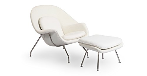 Kardiel Womb Chair & Ottoman, White Boucle Cashmere (Molded Fiberglass Lounge Chair)