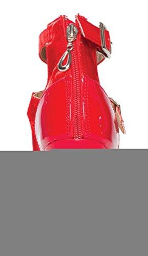 Abby Yfyc-l025 Vrouwen Sexy Latin Tango Ballroom Professionele Custom Hak 3 / 3.3 / 4 Peep-toe Satijn Dansschoenen Rood